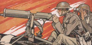 """Pintura dos soldados na batalha com o título """"Os Doughboys fazem o bem"""" (Biblioteca do Congresso)"""