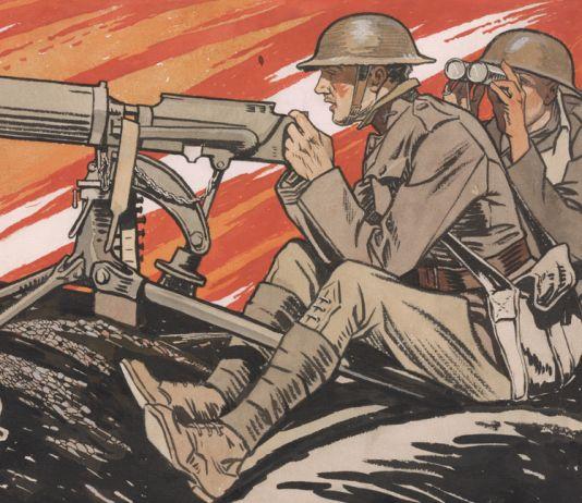 """Pintura de soldados en batalla titulada """"Los soldados en masa lo hacen bien"""" (Biblioteca del Congreso)"""