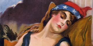 Painting of sleeping woman wearing hat with flag motif (Library of Congress)