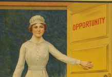 """Ilustração de mulher abrindo uma porta marcada com a palavra """"oportunidade"""" (Biblioteca do Congresso)"""