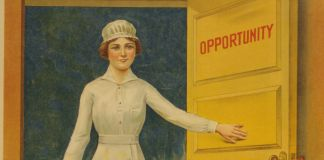 "Illustration of woman entering door marked with word ""opportunity"" (Library of Congress)"