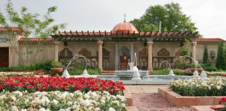 Formal garden with fountain and covered patio (Courtesy of Missouri Botanical Garden)