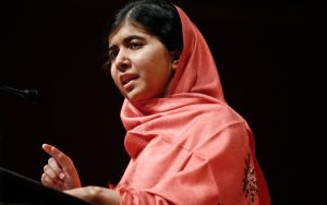 Malala Yousafzai speaking (© AP Images)