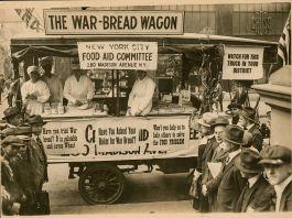 Foto em branco e preto de vagão de comida (Biblioteca do Congresso)