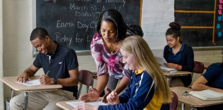 Teacher in classroom with students (Waterbury Public Schools)
