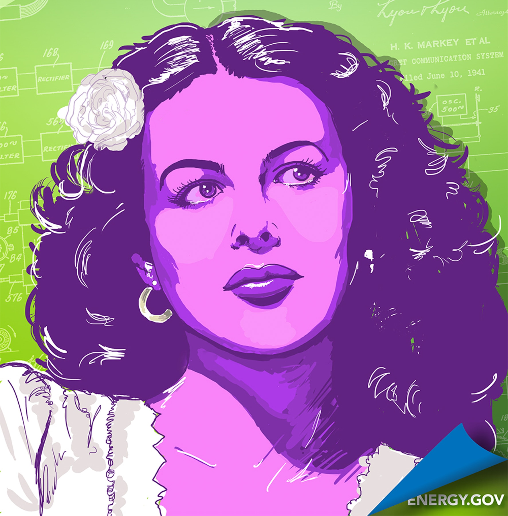 Posterized illustration of Hedy Lamarr (Energy.gov)