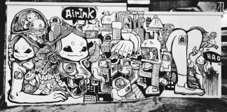 Black and white mural on city wall (Graviky Labs)