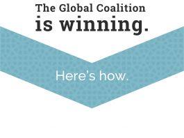 """Gráfico com o seguinte texto: """"EI está perdendo. A Coligação Global está ganhando. Veja como."""" (Depto. de Estado)"""