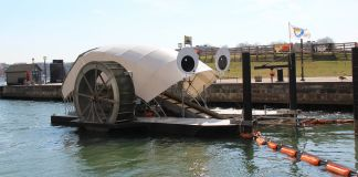 Mr. Trash Wheel in water (Waterfront Partnership of Baltimore)