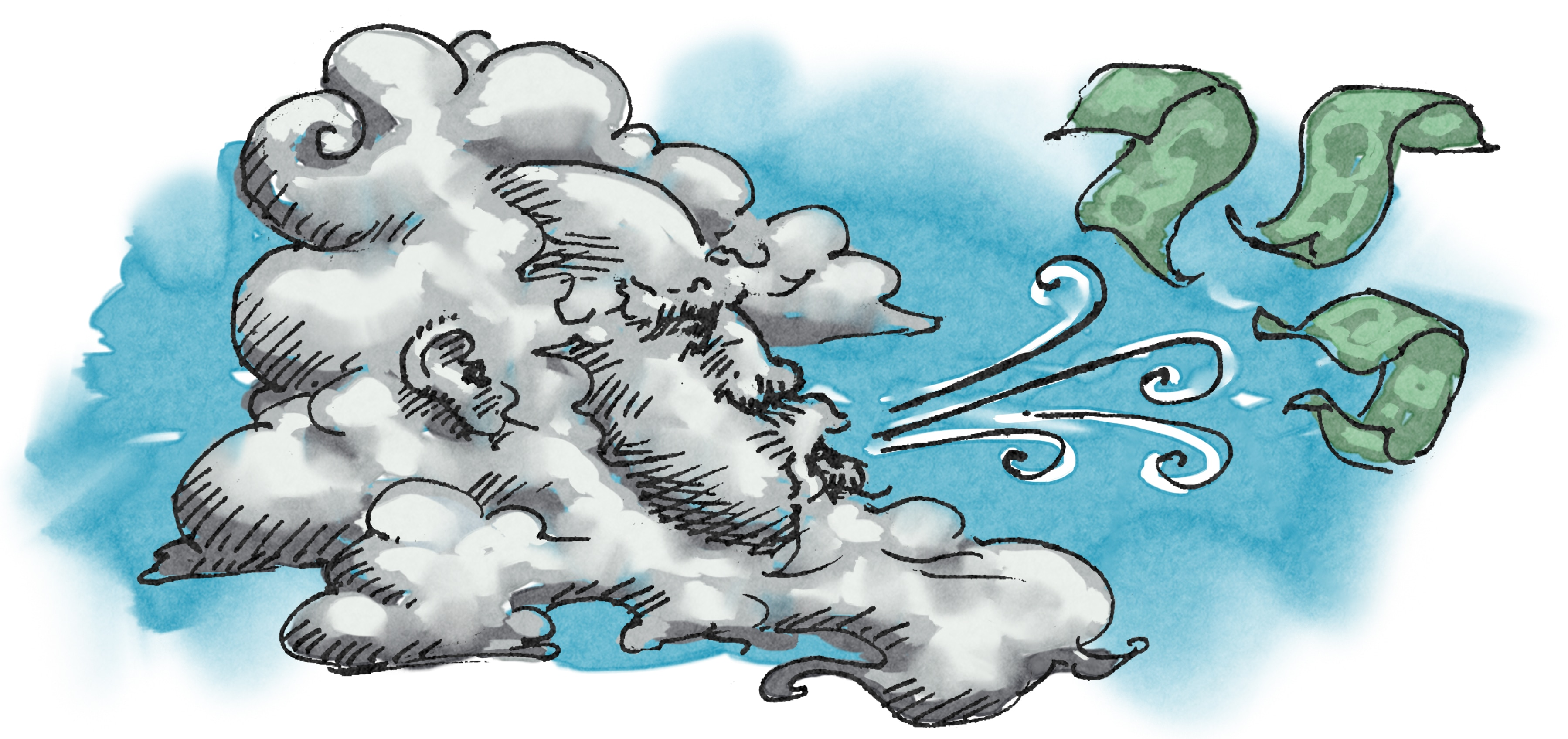 Illustration of wind blowing money (State Dept./Doug Thompson)