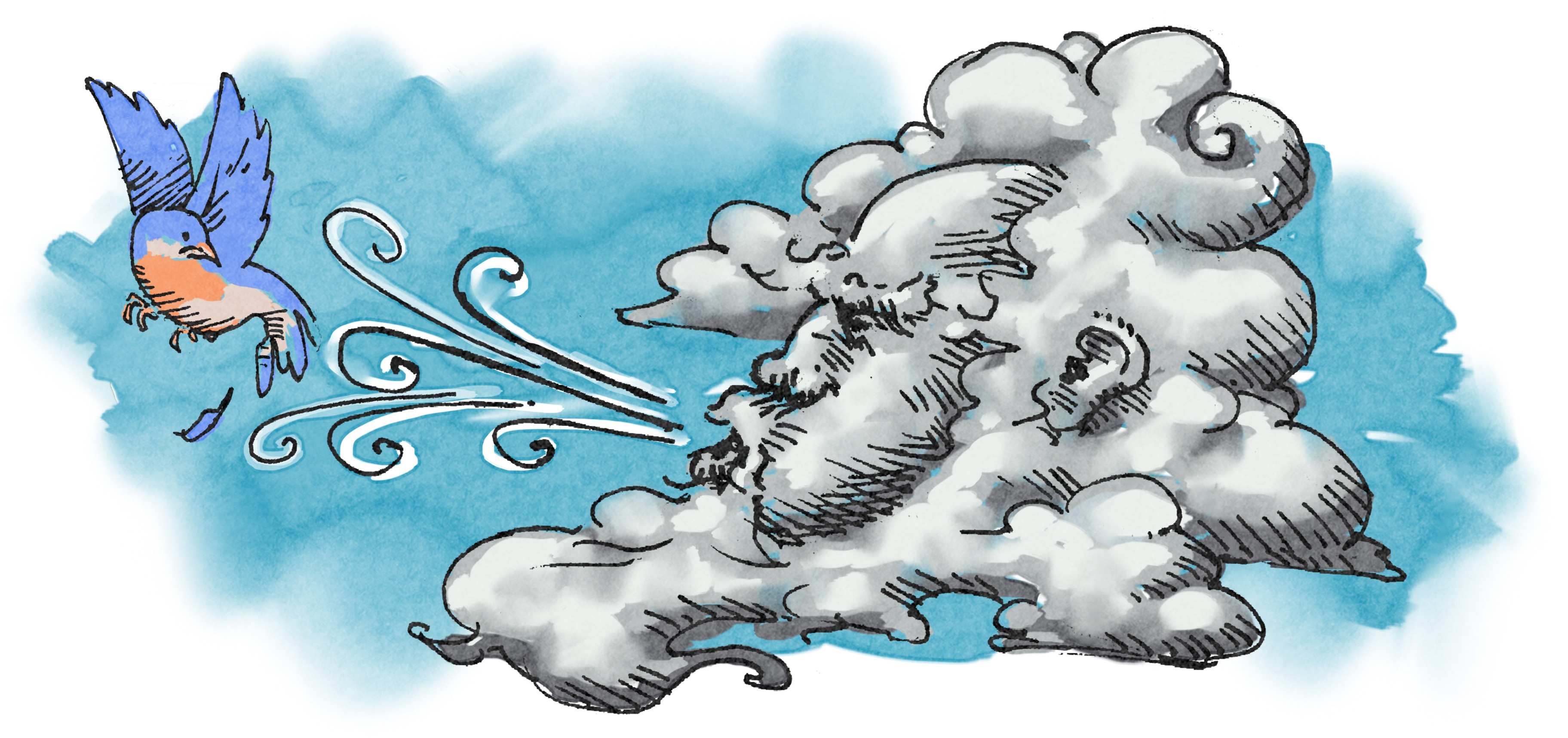 Illustration of wind blowing bird (State Dept./Doug Thompson)