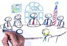 Dibujo a mano de personas sentadas en una mesa de juntas con una bandera de Estados Unidos al fondo (Depto. de Estado)