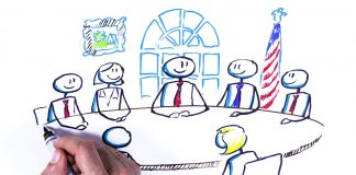 Hand drawing people seated at a meeting table with U.S. flag in background (State Dept.)