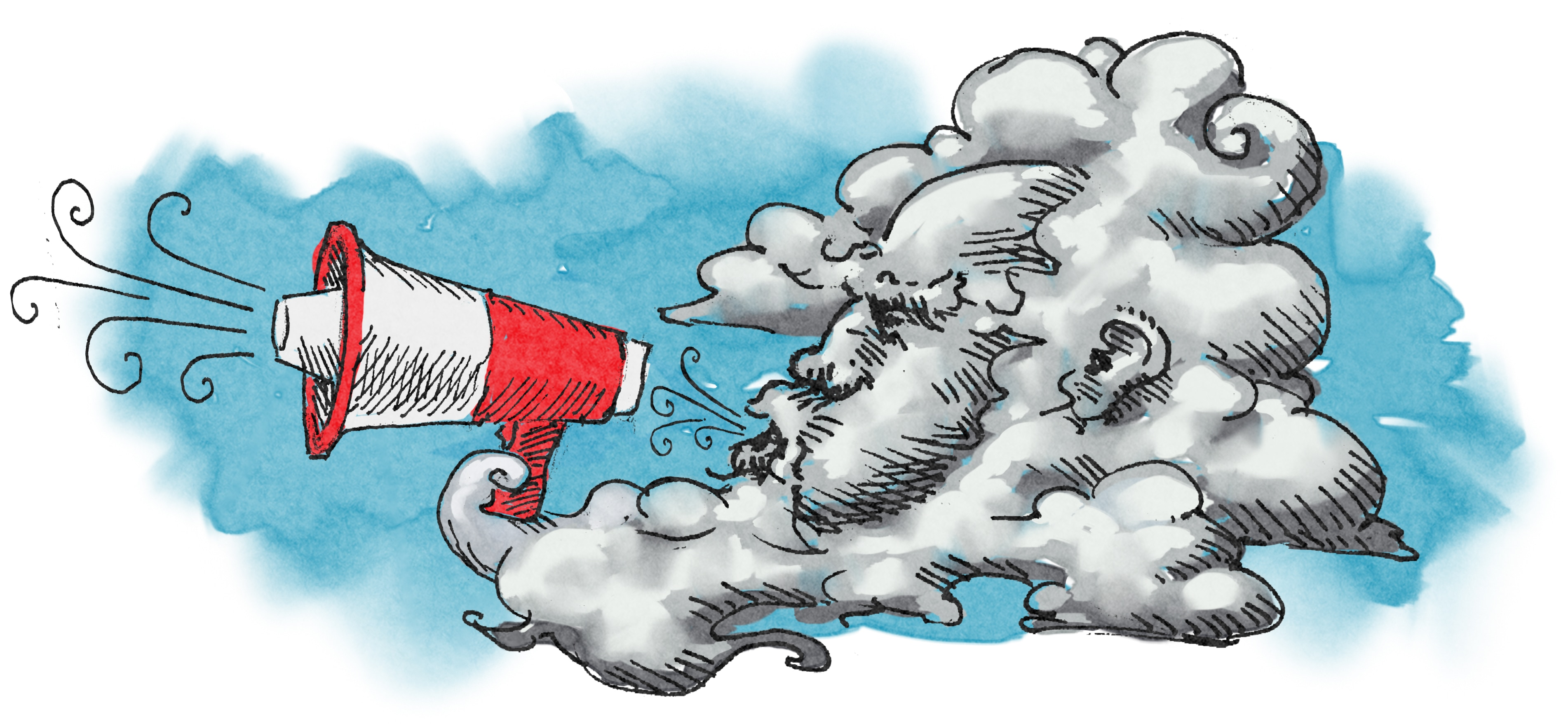 Illustration of wind blowing into bull horn (State Dept./Doug Thompson)