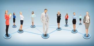 10 people standing on connecting lines (Shutterstock)