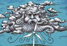 Illustration of wind blowing turbine (State Dept./Doug Thompson)