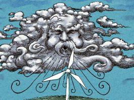 Illustration of wind blowing turbine (State Dept./Doug Thompson)