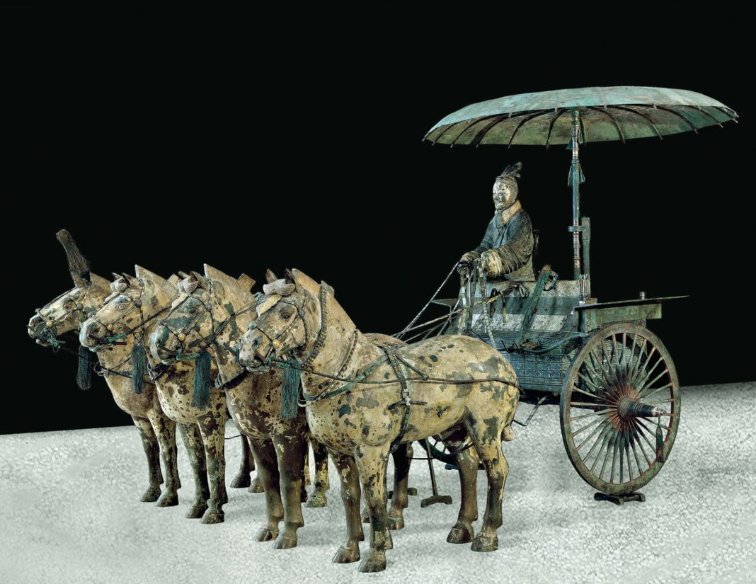 Chariot and horses made of painted bronze (Courtesy of Qin Shihuangdi Mausoleum Site Museum, Lintong)