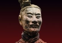 Head and shoulders of terra cotta archer (Courtesy of Qin Shihuangdi Mausoleum Site Museum, Lintong)