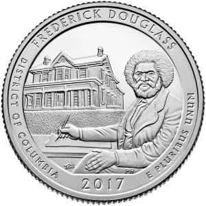 Coin featuring man writing and house (U.S. Mint)