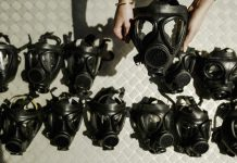 Gas masks (© Ian Waldie/Getty Images)