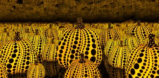 Stylized pumpkins in room with mirrors (Hirshhorn Museum)