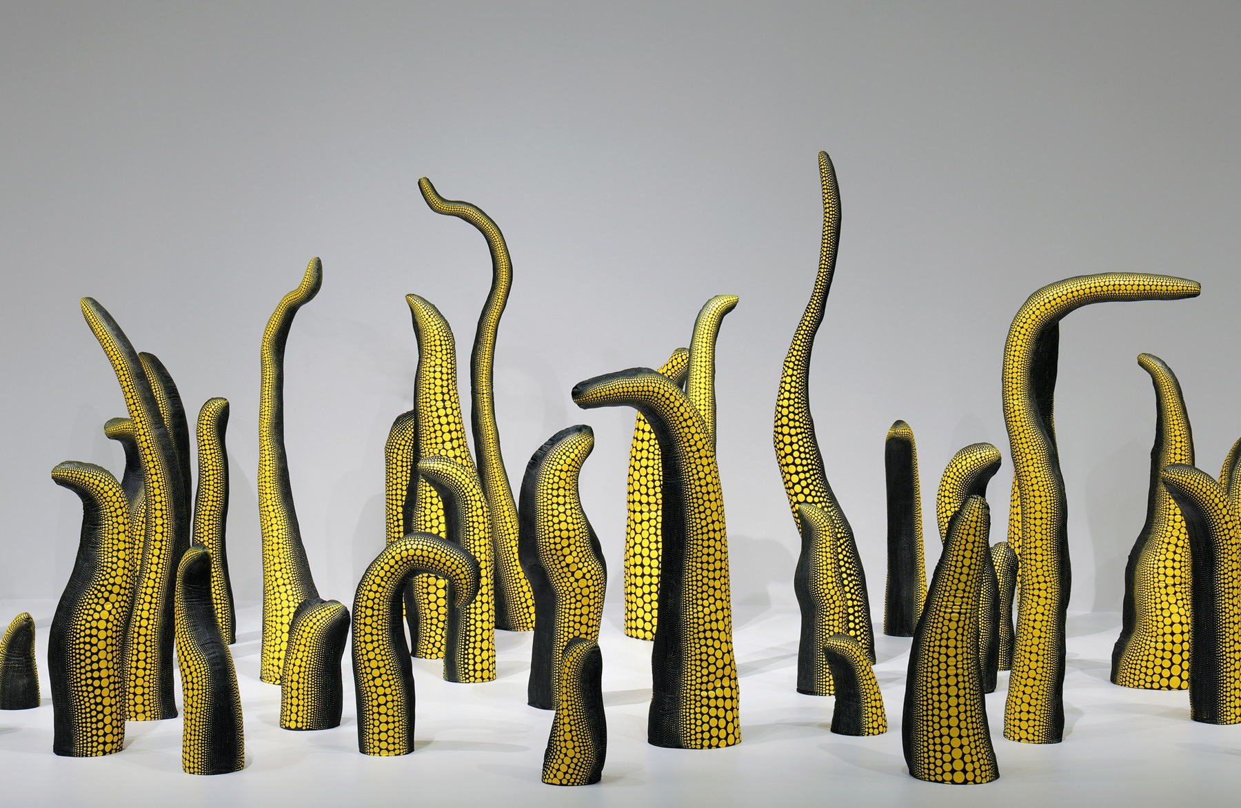 Freeform sculptures covered with yellow polka dots (Hirshhorn Museum)