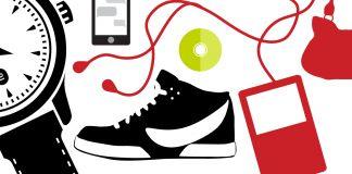 Ilustração de relógio, telefone, tênis e iPod (D. Woolverton/Depto. de Estado)