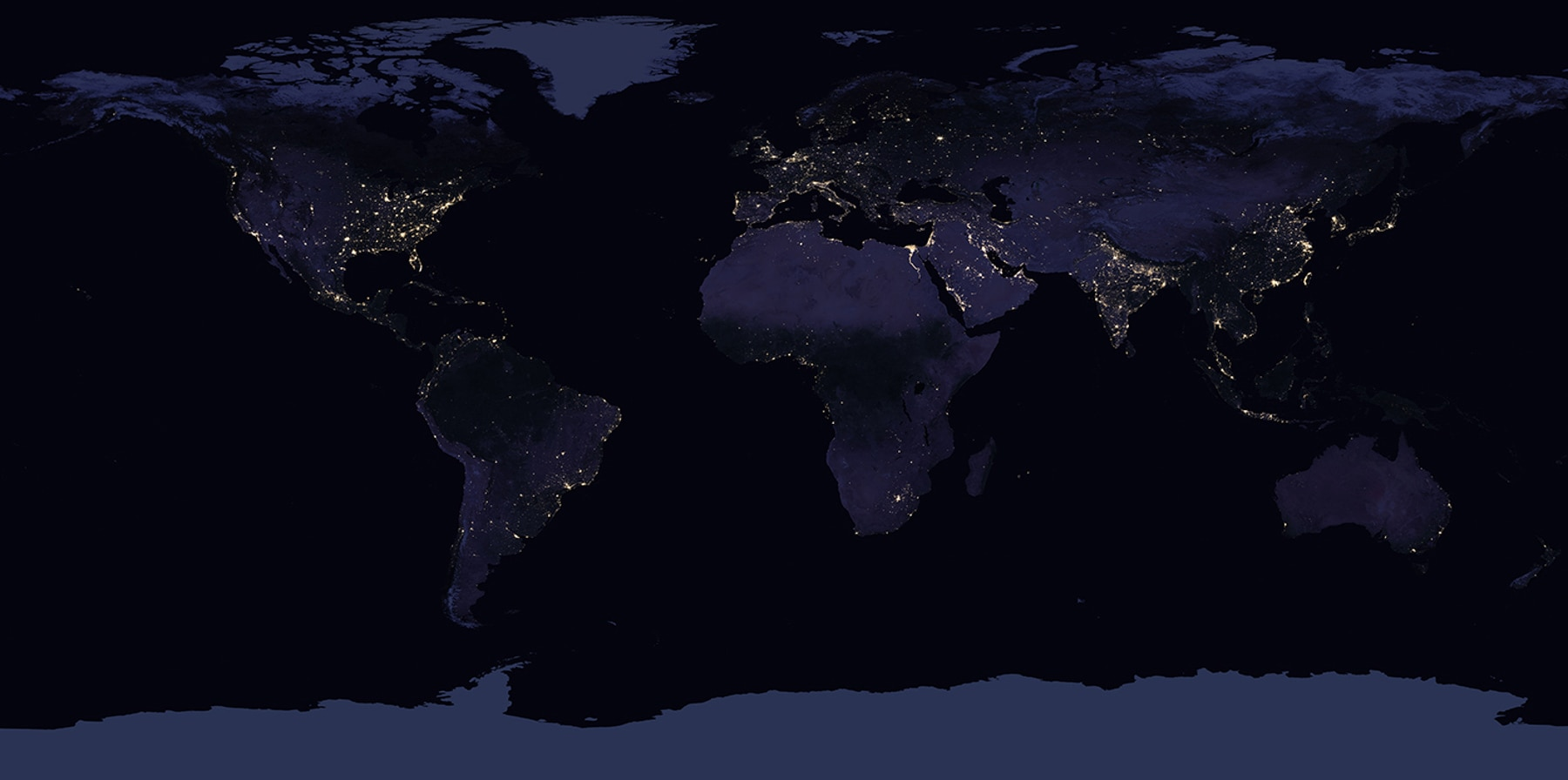 The Earth at night (NASA)