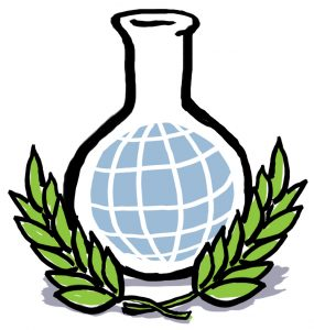 Illustration of chemistry beaker with image of globe inside and two olive branches alongside (State Dept./Doug Thompson)