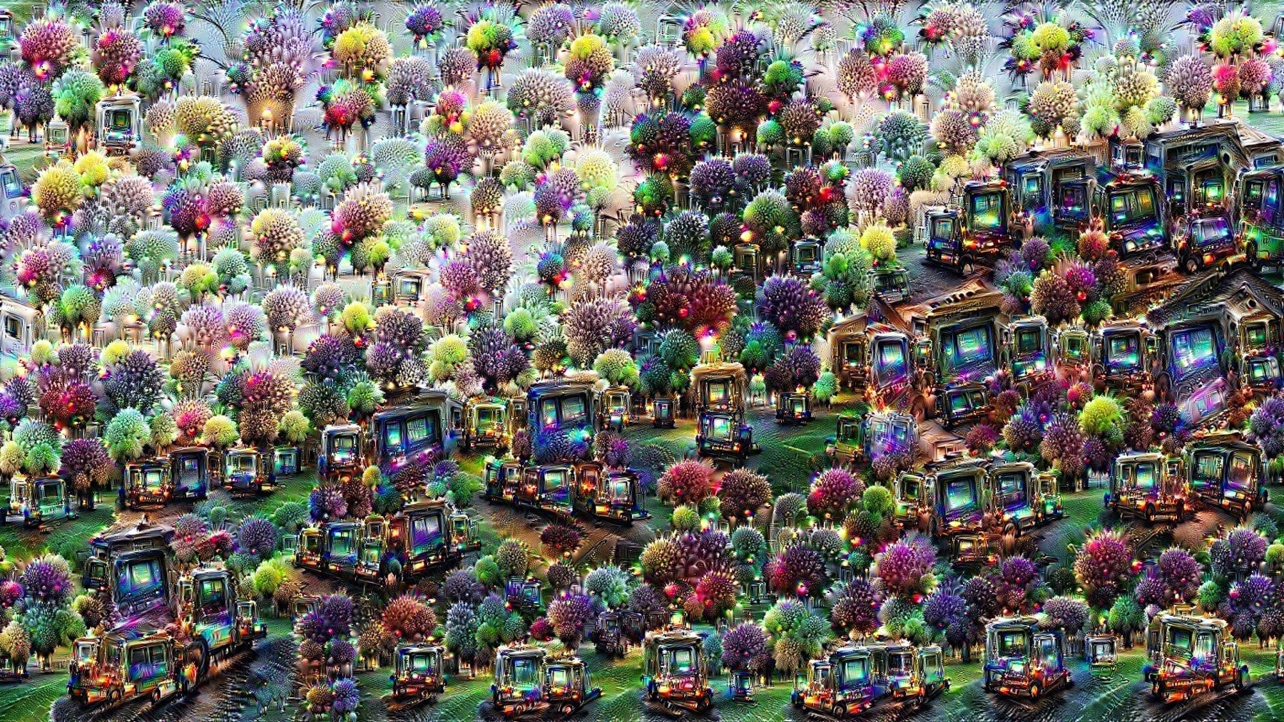 Drawing of many colorful trees and computer screens (Deep Dream Generator)