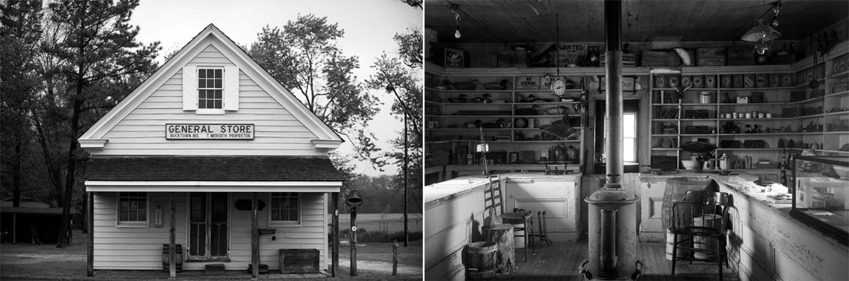 Two views of small store, outside and inside (State Dept./Astrid Riecken)