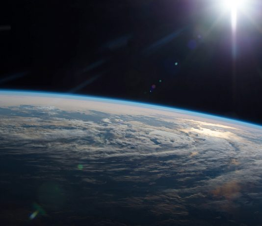 View of Earth's curvature, with dark space above (NASA)