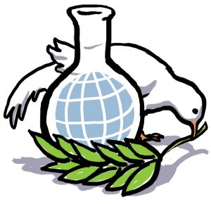 Illustration of white dove placing olive branch in front of chemistry beaker with globe inside (State Dept./Doug Thompson)
