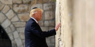 President Trump standing before and touching stone wall (© AP Images)