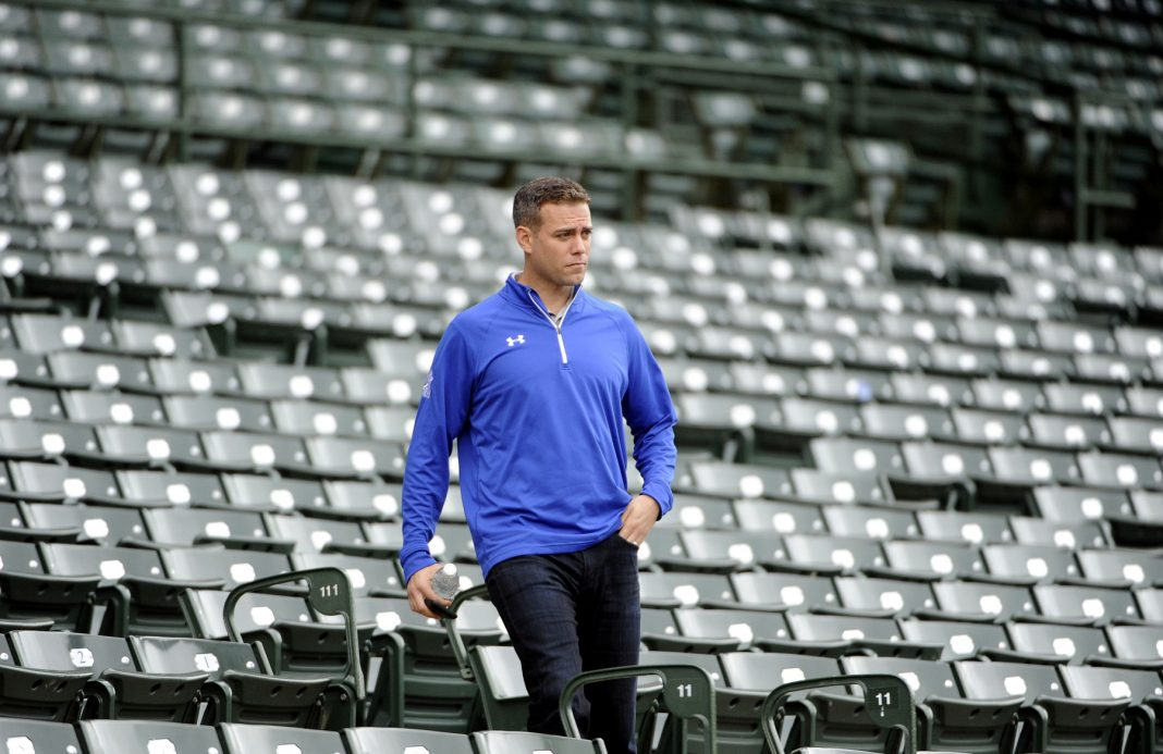 Theo Epstein in Chicago Cubs stands (© AP Images)