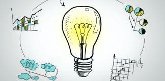 Ilustração de uma lâmpada cercada por tabelas e gráficos (Departamento de Estado/Julia Maruszewski)