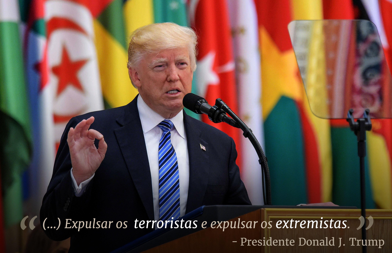 "Presidente Trump na tribuna em frente de bandeiras e texto sobreposto que diz: ""(...) Expulsar os terroristas e expulsar os extremistas."""