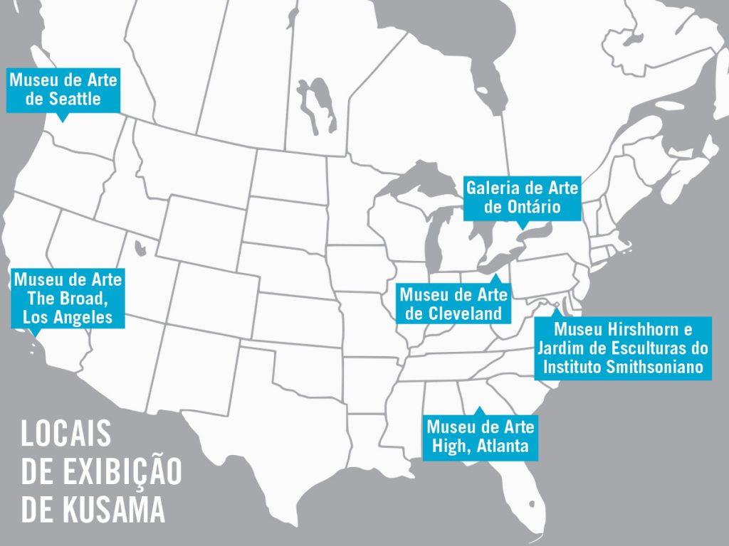 Mapa dos EUA marcando os locais onde a exposição será realizada (Depto. de Estado)