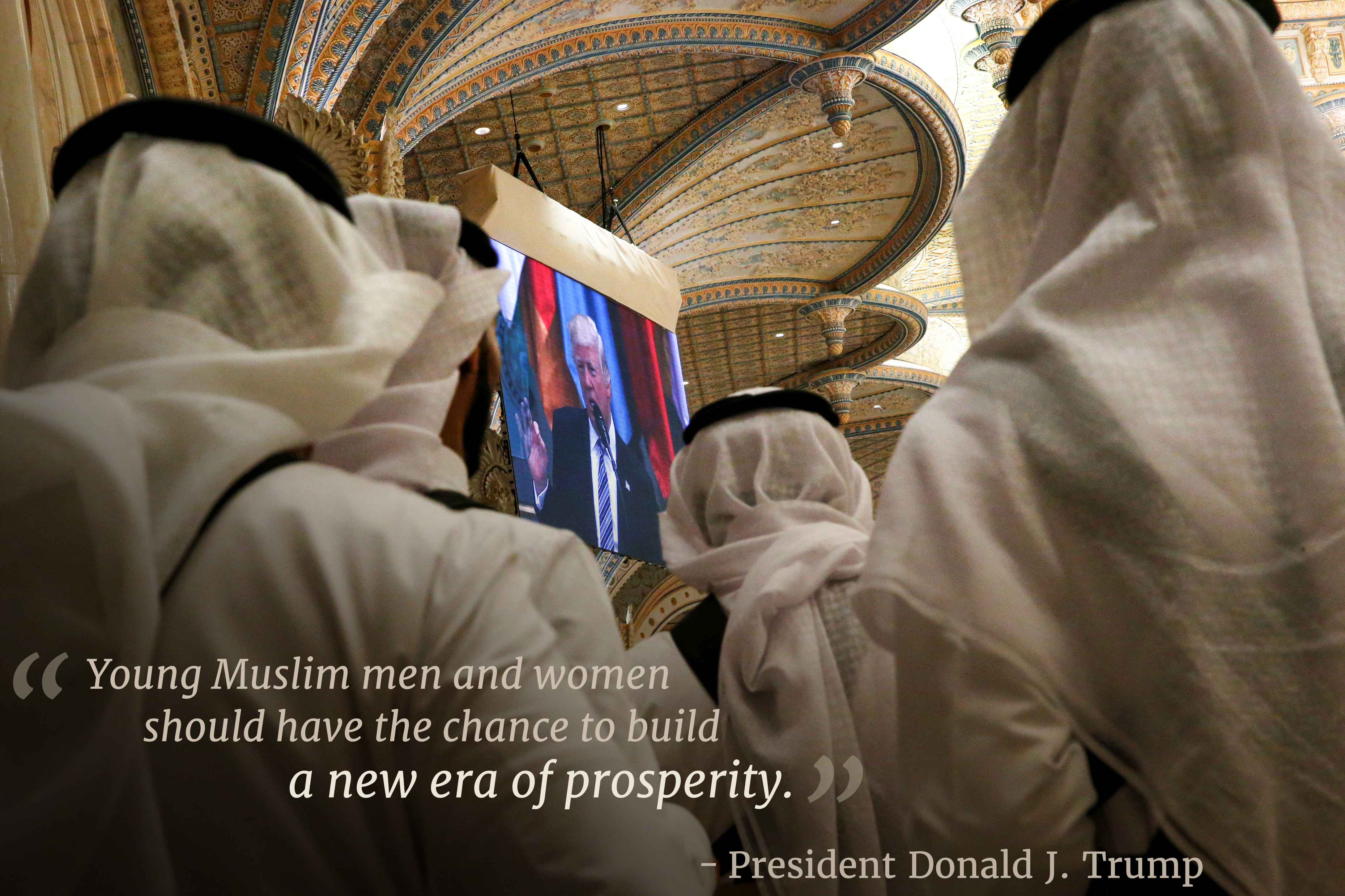 People watching President Trump on TV with overlaid text 'Young Muslim men and women should have the chance to build a new era of prosperity' (Jonathan Ernst/REUTERS)