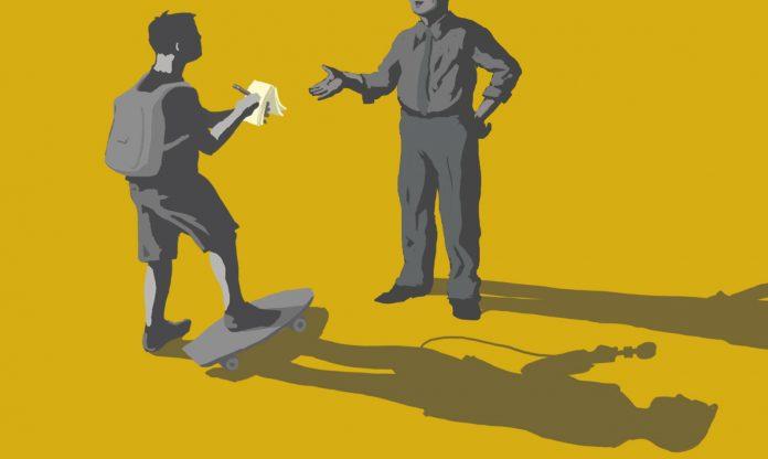 Ilustración de un estudiante universitario entrevistando una persona, con una sombra parecida a la de un periodista maduro (Depto. de Estado/D. Thompson)