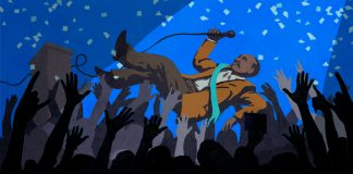 Illustration of public official crowdsurfing on crowd's hands (State Dept./D. Thompson)