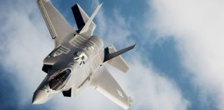F-35 airplane flying through clouds (U.S. Air Force photo by Master Sgt. John R. Nimmo, Sr.)