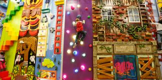 Child climbing a designed wall (ClimbZone)