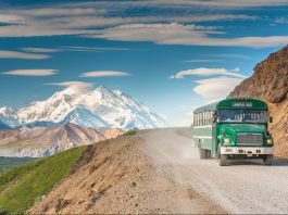 Scenic view of Mount McKinley with a tour bus on road in the foreground (Design Pics Inc./Alamy)