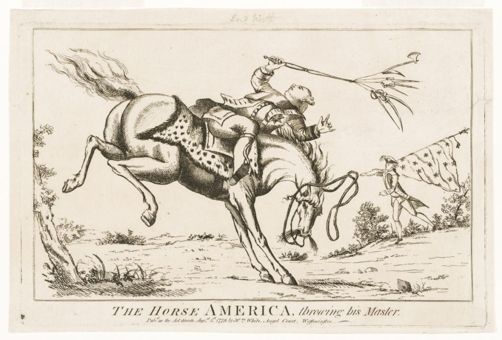 Cartoon showing man on bucking horse (Smithsonian Institution)