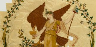 Silk banner depicting Lady Liberty (Smithsonian Institution)