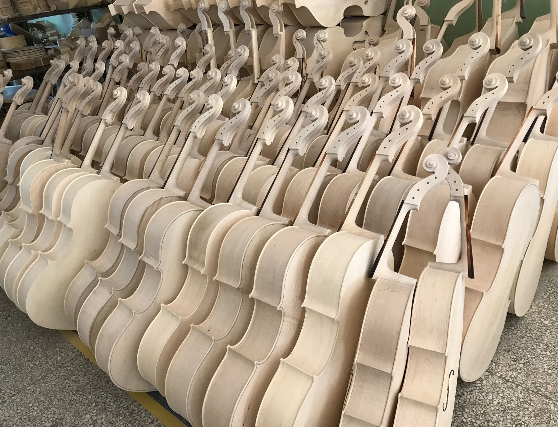 Rows of unfinished cellos (Jeremy Rothman/Philadelphia Orchestra)