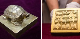 Two views of seal with tortoise handle (State Dept./D.A. Peterson)
