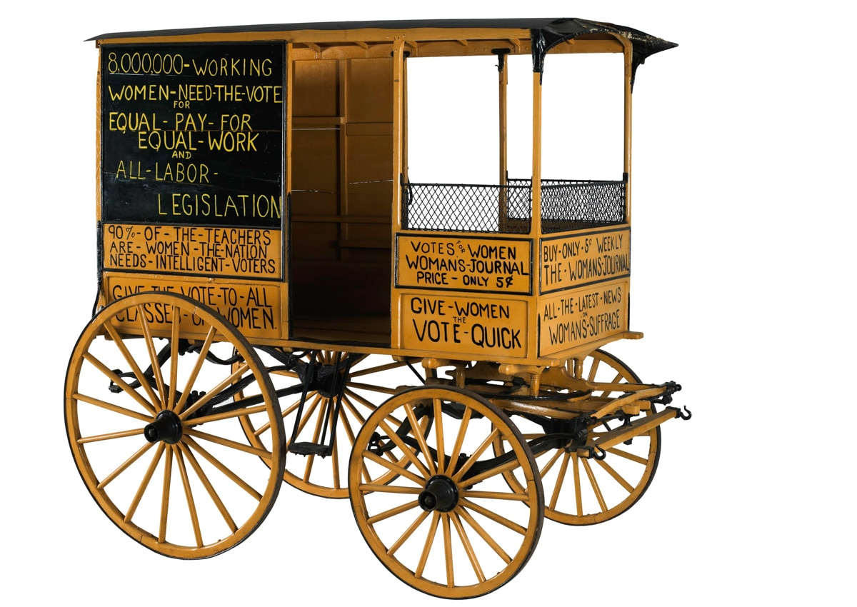 Antique wood wagon with signs related to women's suffrage (Smithsonian Institution)